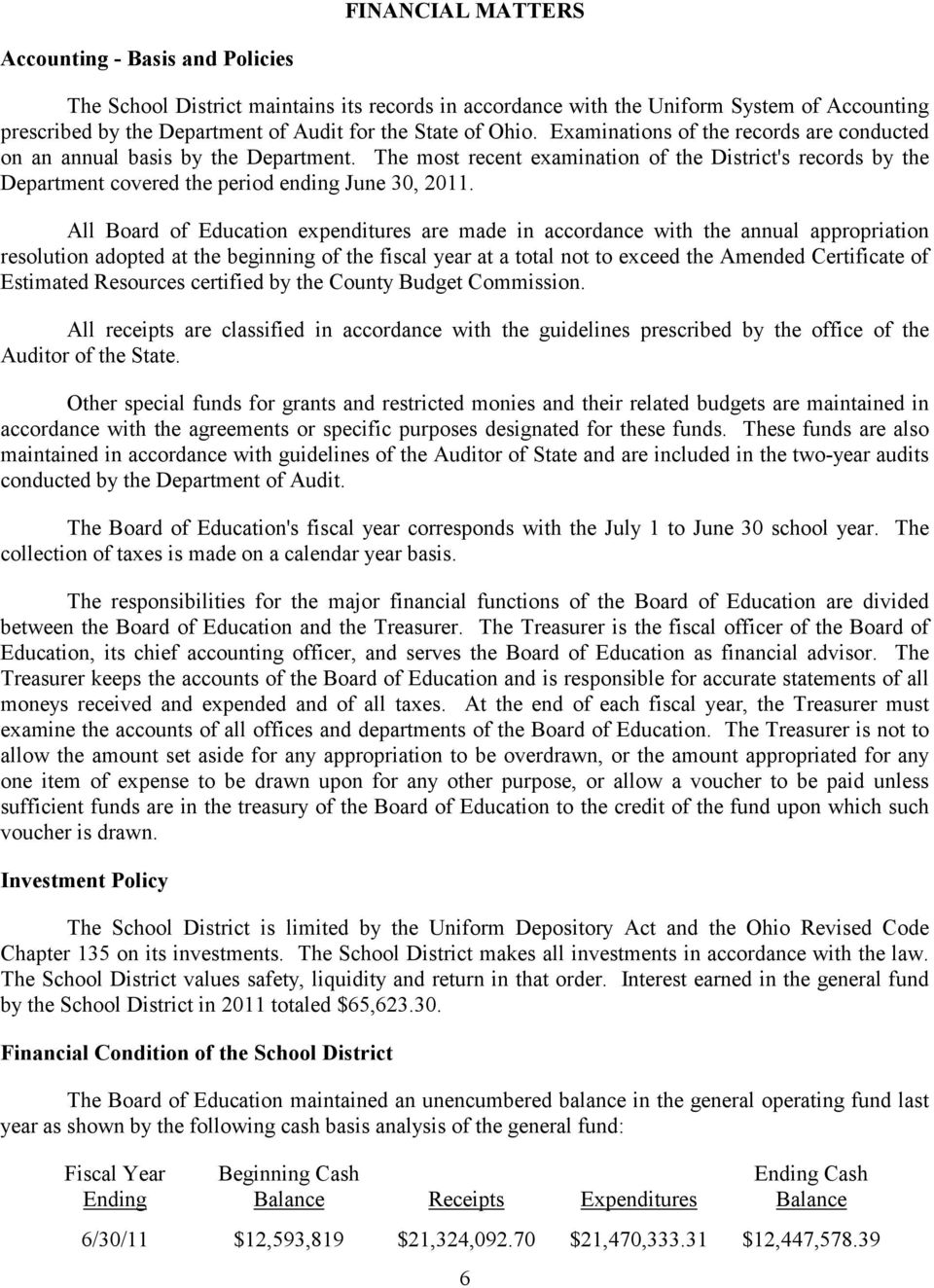All Board of Education expenditures are made in accordance with the annual appropriation resolution adopted at the beginning of the fiscal year at a total not to exceed the Amended Certificate of