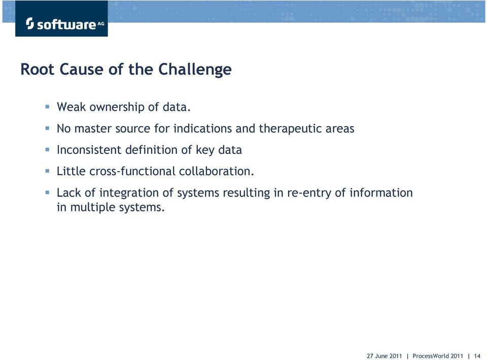 definition of key data Little cross-functional collaboration.