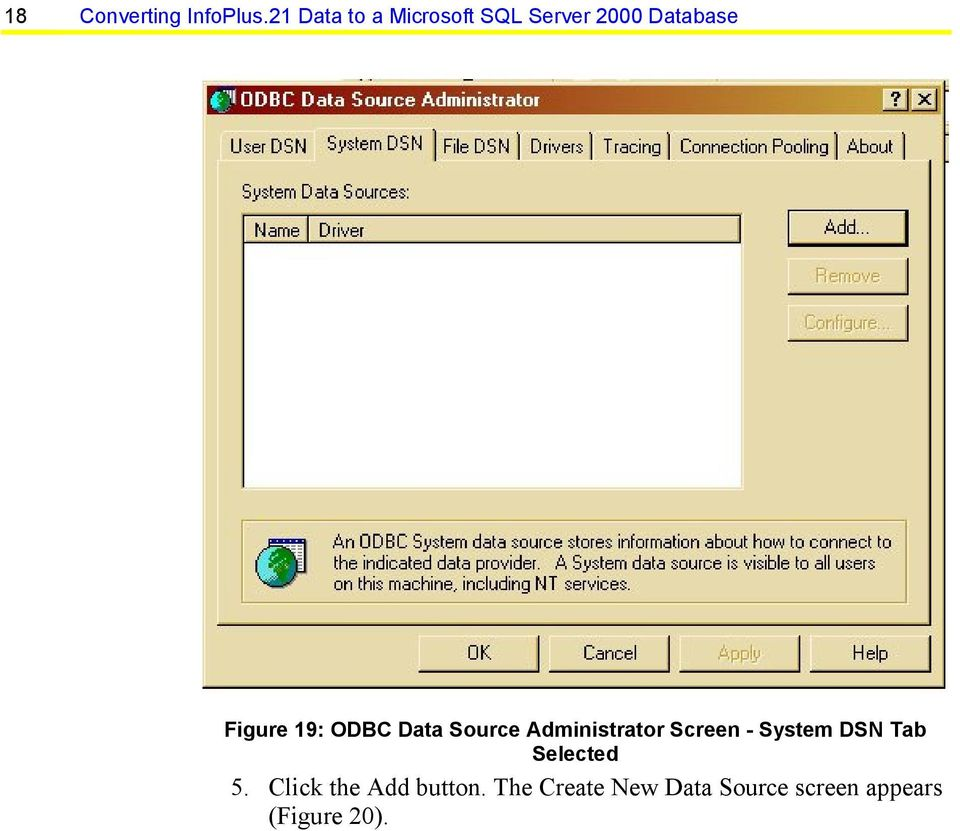 19: ODBC Data Source Administrator Screen - System DSN