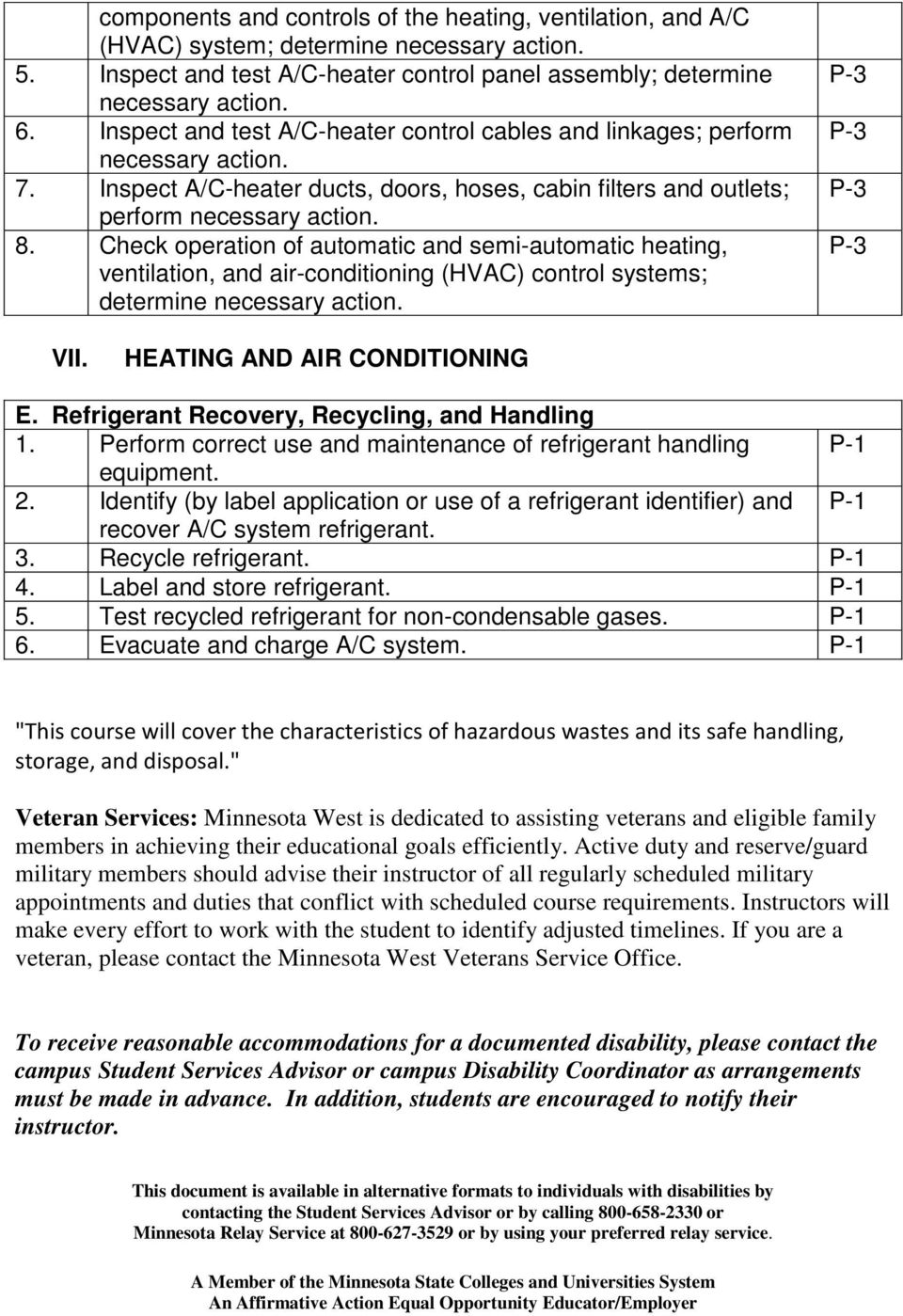 Check operation of automatic and semi-automatic heating, ventilation, and air-conditioning (HVAC) control systems; determine E. Refrigerant Recovery, Recycling, and Handling 1.