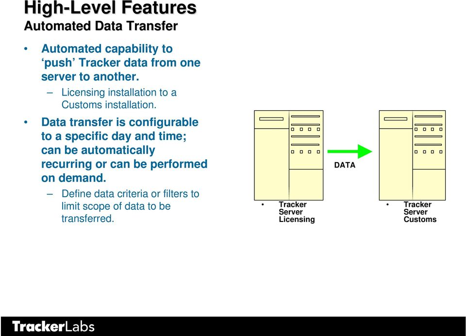 Data transfer is configurable to a specific day and time; can be automatically recurring or can be
