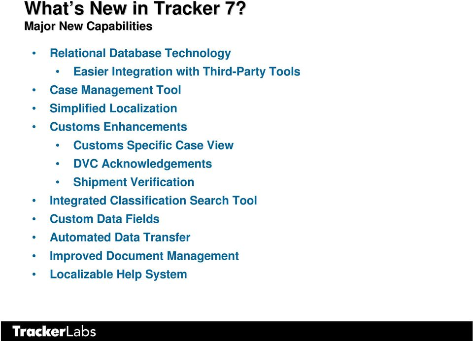 Case Management Tool Simplified Localization Customs Enhancements Customs Specific Case View DVC