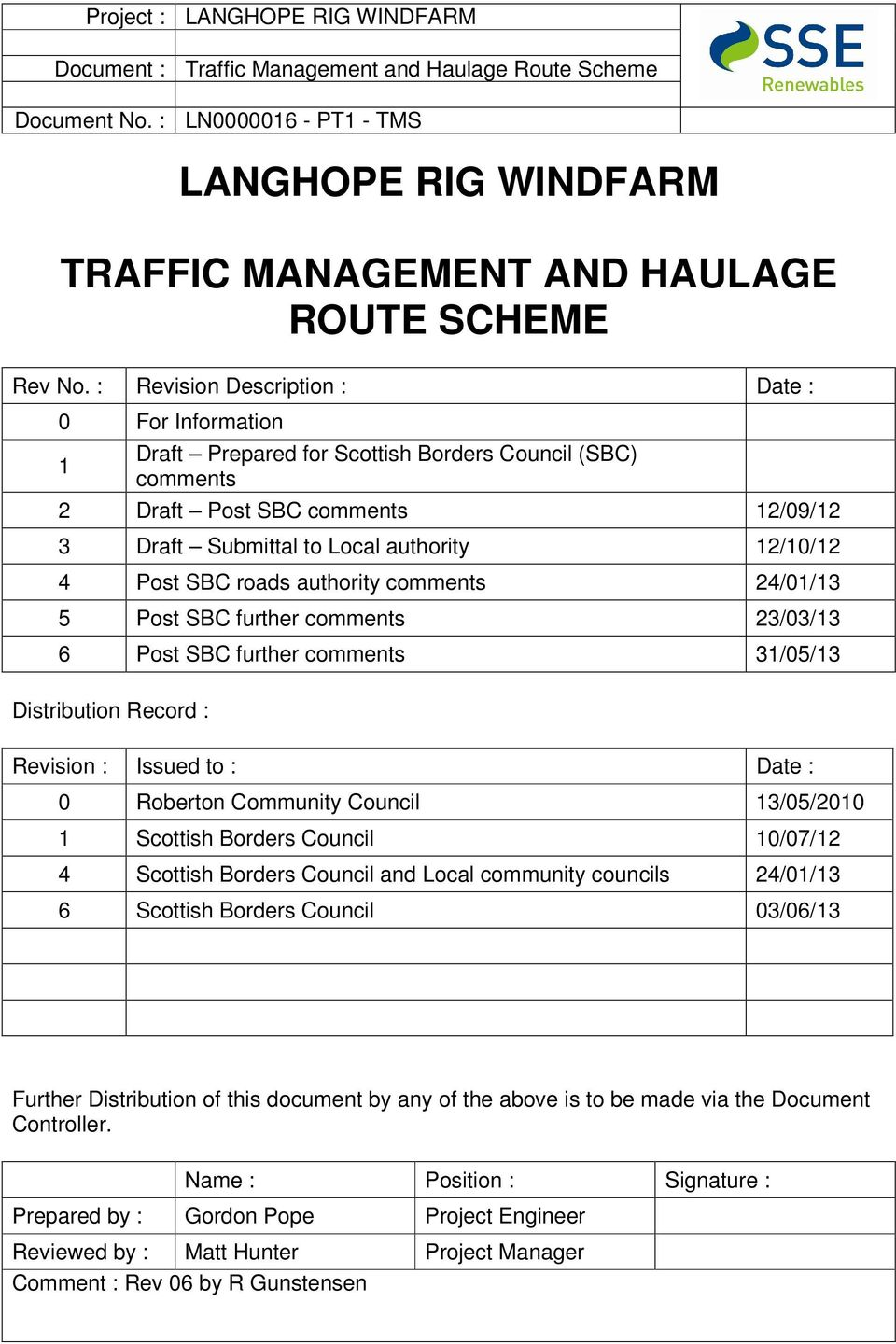 SBC roads authority comments 24/01/13 5 Post SBC further comments 23/03/13 6 Post SBC further comments 31/05/13 Distribution Record : Revision : Issued to : Date : 0 Roberton Community Council