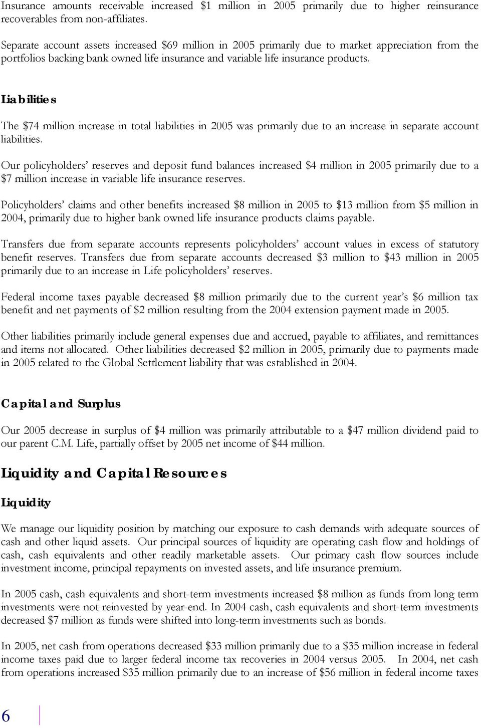 Liabilities The $74 million increase in total liabilities in 2005 was primarily due to an increase in separate account liabilities.