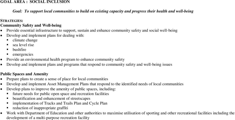 environmental health program to enhance community safety Develop and implement plans and programs that respond to community safety and well-being issues Public Spaces and Amenity Prepare plans to