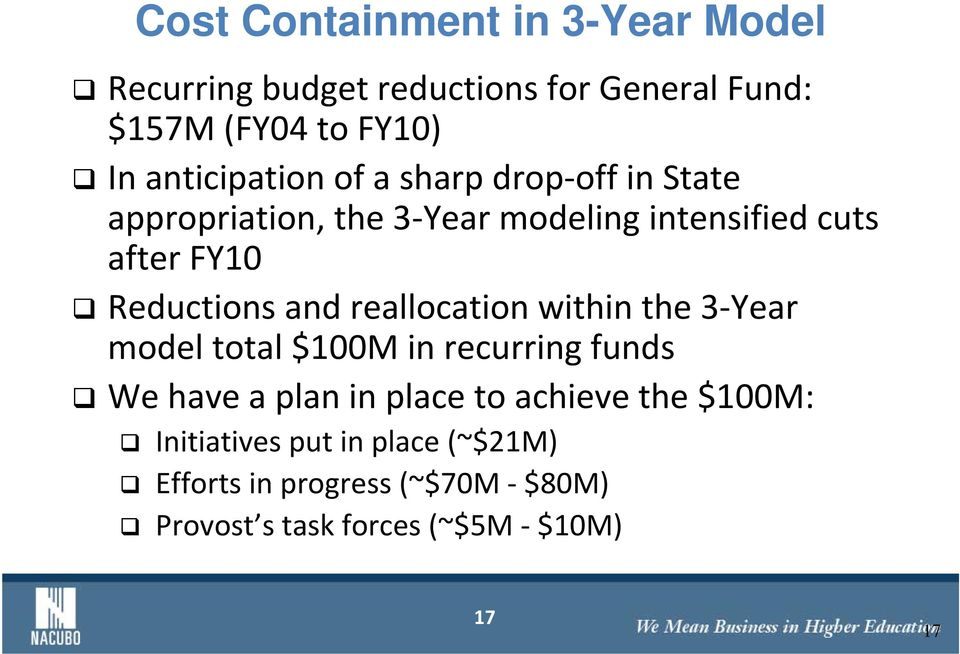 Reductions and reallocation within the 3 Year model total $100M in recurring funds We have a plan in place to