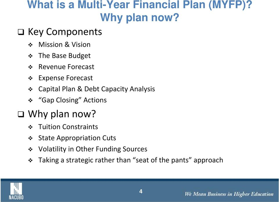 Capital Plan & Debt Capacity Analysis Gap Closing Actions Why plan now?