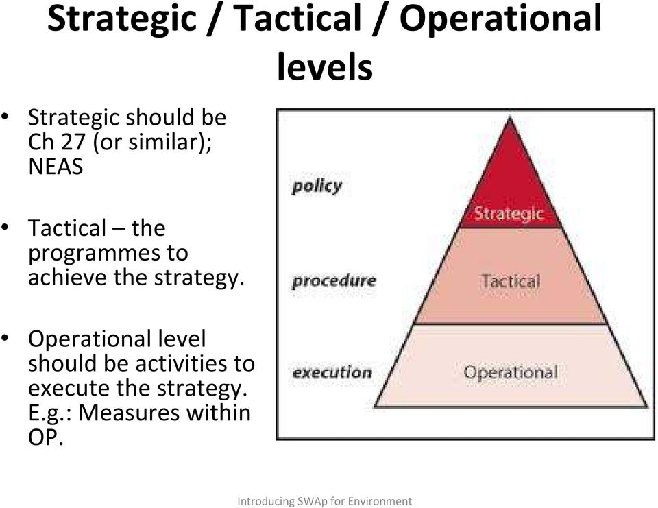Operational level should be activities to execute the strategy.