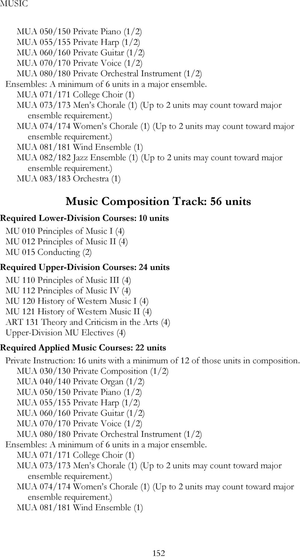 Courses: 10 units MU 015 Conducting (2) Required Upper-Division Courses: 24 units MU 110 Principles of Music III (4) MU 112 Principles of Music IV (4) ART 131 Theory and