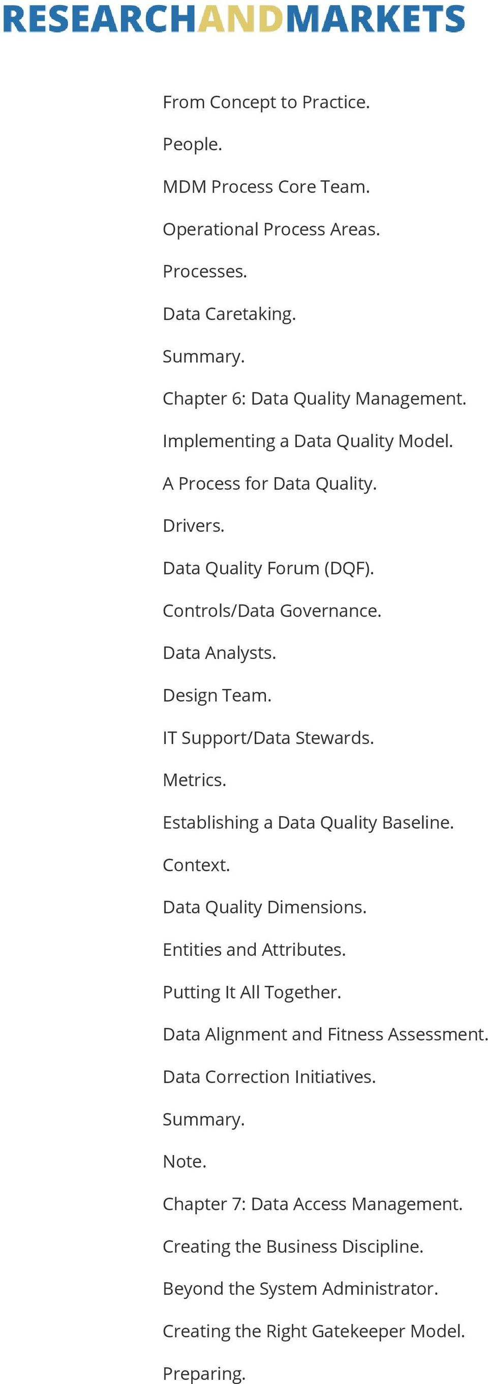 IT Support/Data Stewards. Metrics. Establishing a Data Quality Baseline. Context. Data Quality Dimensions. Entities and Attributes. Putting It All Together.