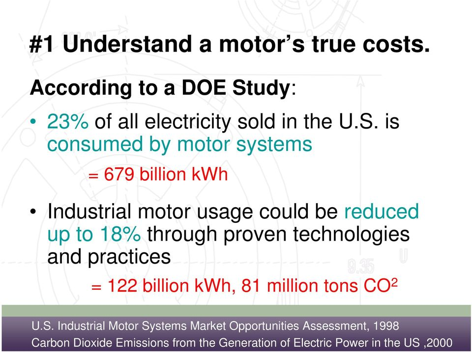 is consumed by motor systems = 679 billion kwh Industrial motor usage could be reduced up to 18% through