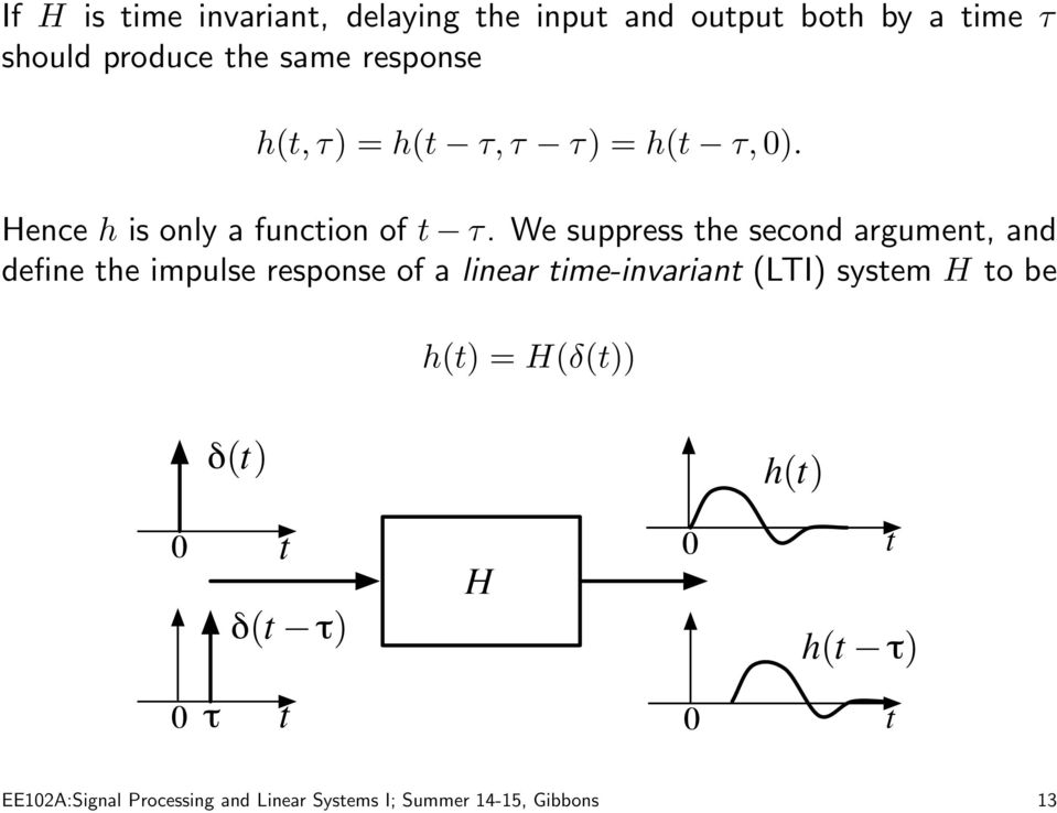 We suppress he second argumen, and define he impulse response of a linear ime-invarian (LTI)