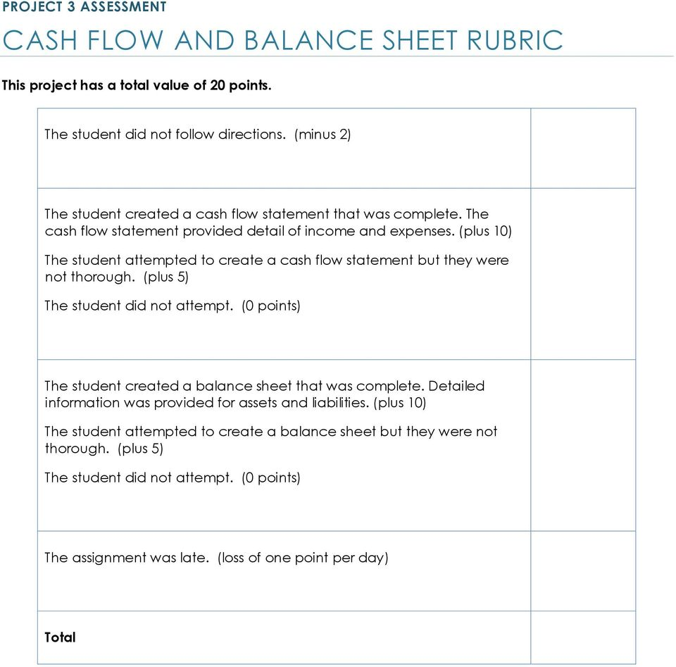 (plus 10) The student attempted to create a cash flow statement but they were not thorough. (plus 5) The student did not attempt.