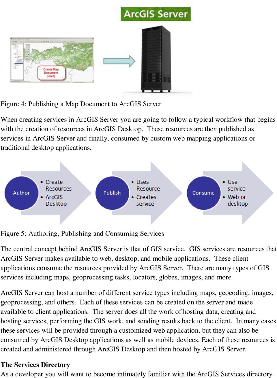 Figure 5: Authoring, Publishing and Consuming Services The central concept behind ArcGIS Server is that of GIS service.