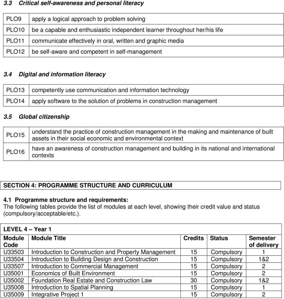4 Digital and information literacy PLO13 PLO14 competently use communication and information technology apply software to the solution of problems in construction management 3.