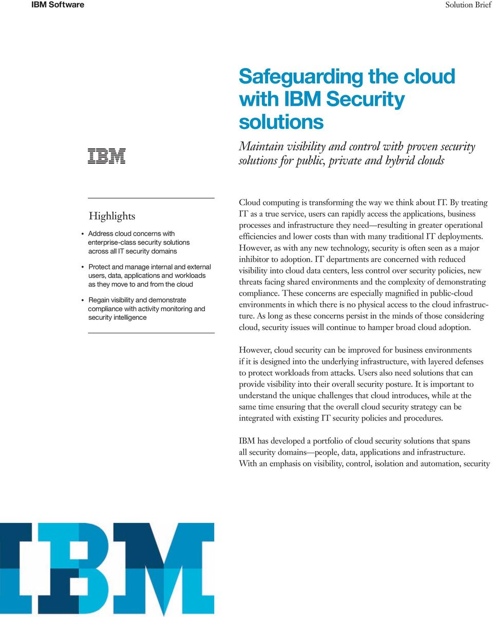 activity monitoring and intelligence Cloud computing is transforming the way we think about IT.