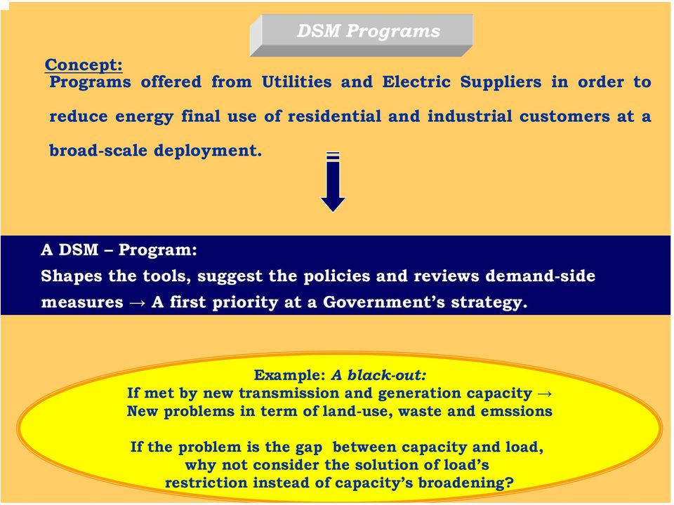 DSM Programs A DSM Program: Shapes the tools, suggest the policies and reviews demand-side measures A first priority at a Government s strategy.