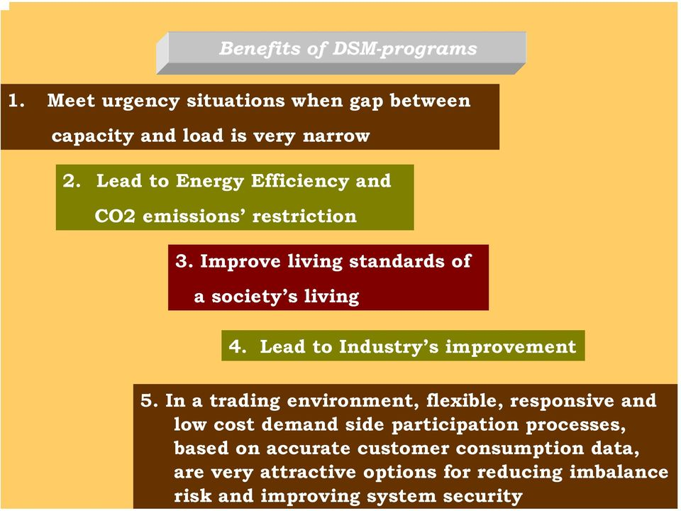 Benefits of DSM-programs 1. Meet urgency situations when gap between capacity and load is very narrow 2.