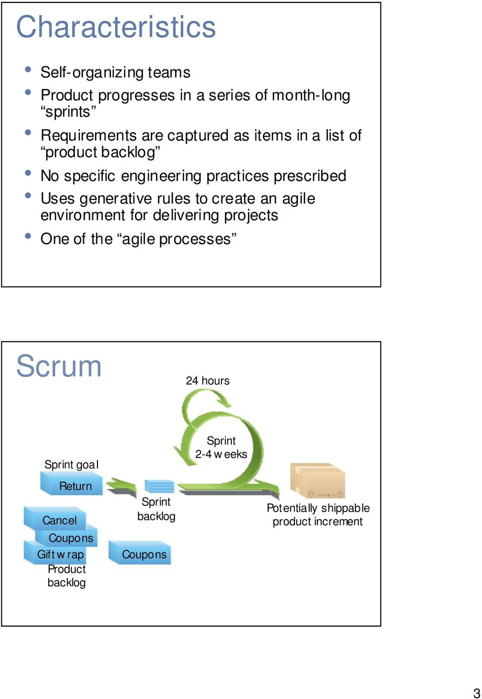 environment for delivering projects One of the agile processes Scrum 24 hours Sprint goal Return Cancel Return Gift