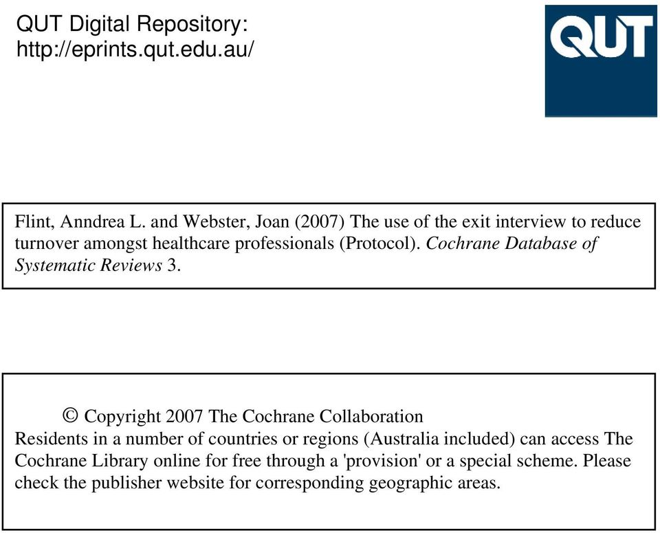 Cochrane Database of Systematic Reviews 3.