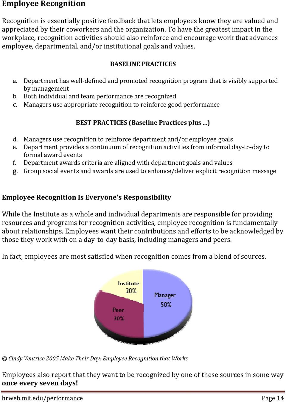 BASELINE PRACTICES a. Department has well defined and promoted recognition program that is visibly supported by management b. Both individual and team performance are recognized c.