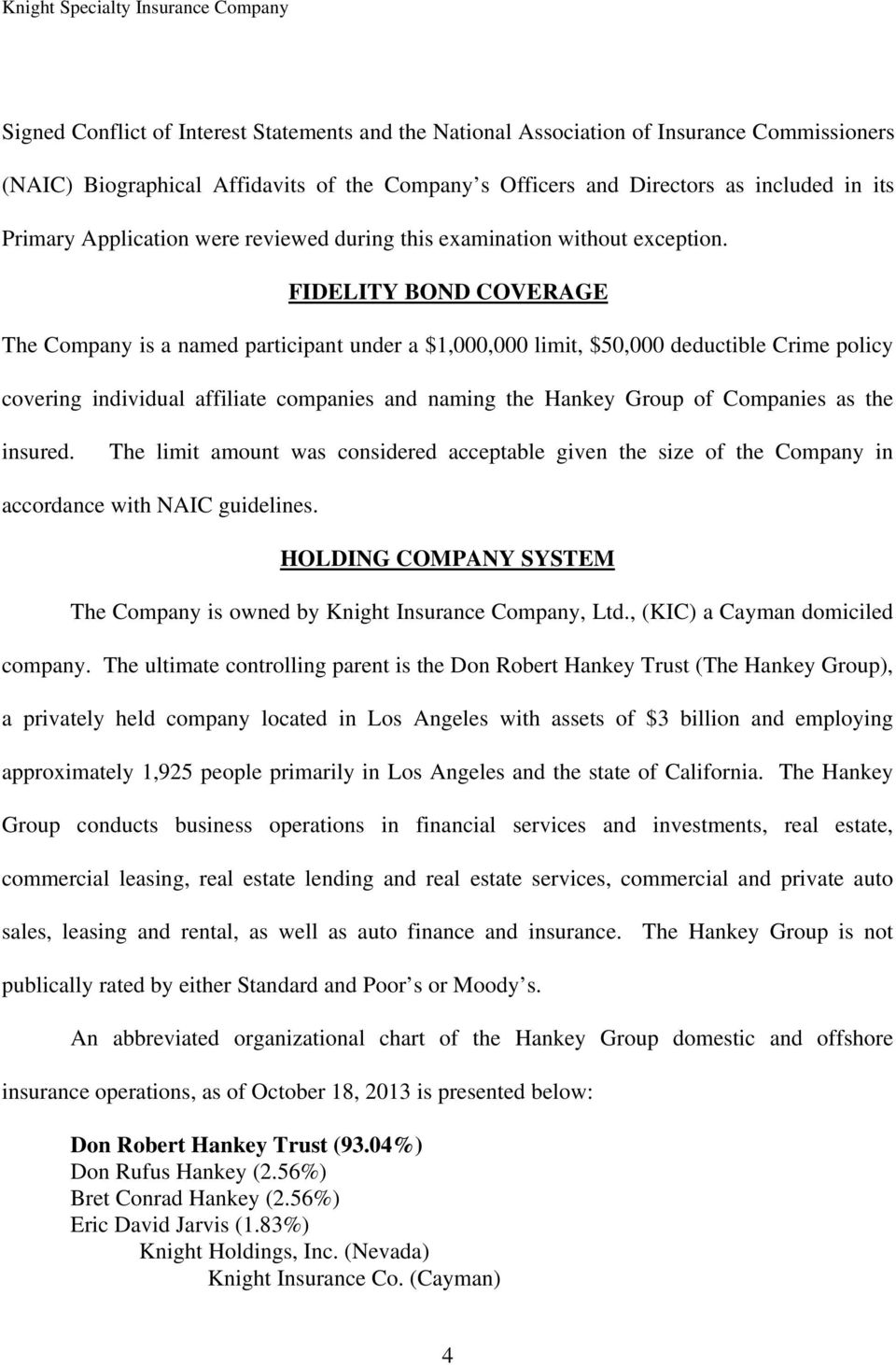 FIDELITY BOND COVERAGE The Company is a named participant under a $1,000,000 limit, $50,000 deductible Crime policy covering individual affiliate companies and naming the Hankey Group of Companies as