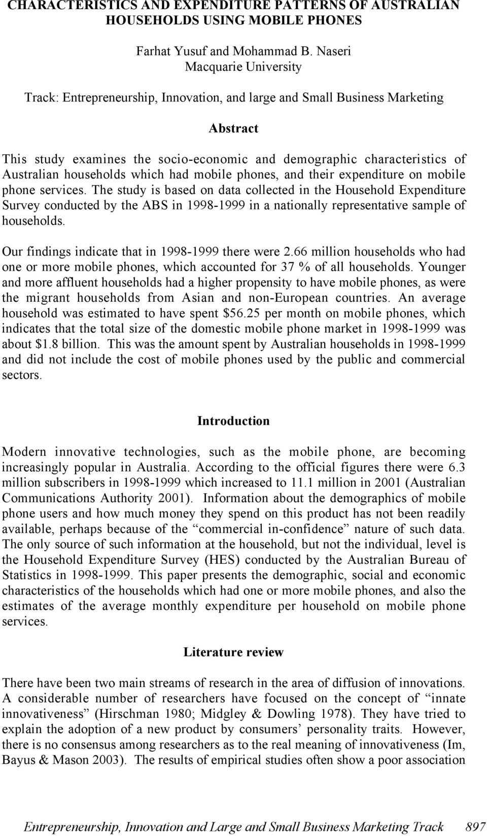 households which had mobile phones, and their expenditure on mobile phone services.