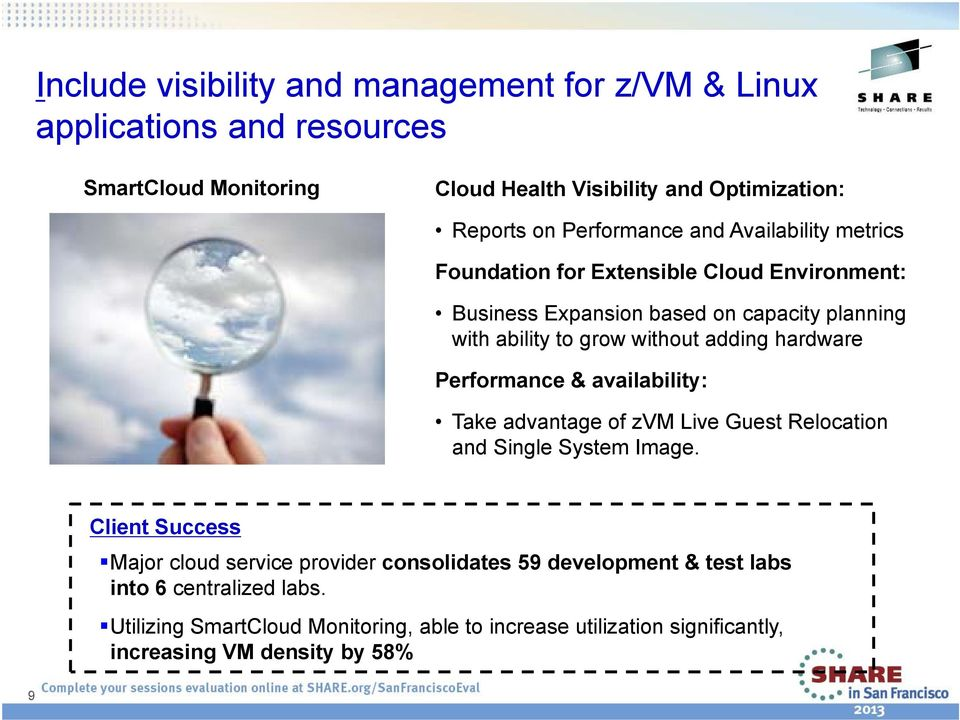 adding hardware Performance & availability: Take advantage of zvm Live Guest Relocation and Single System Image.