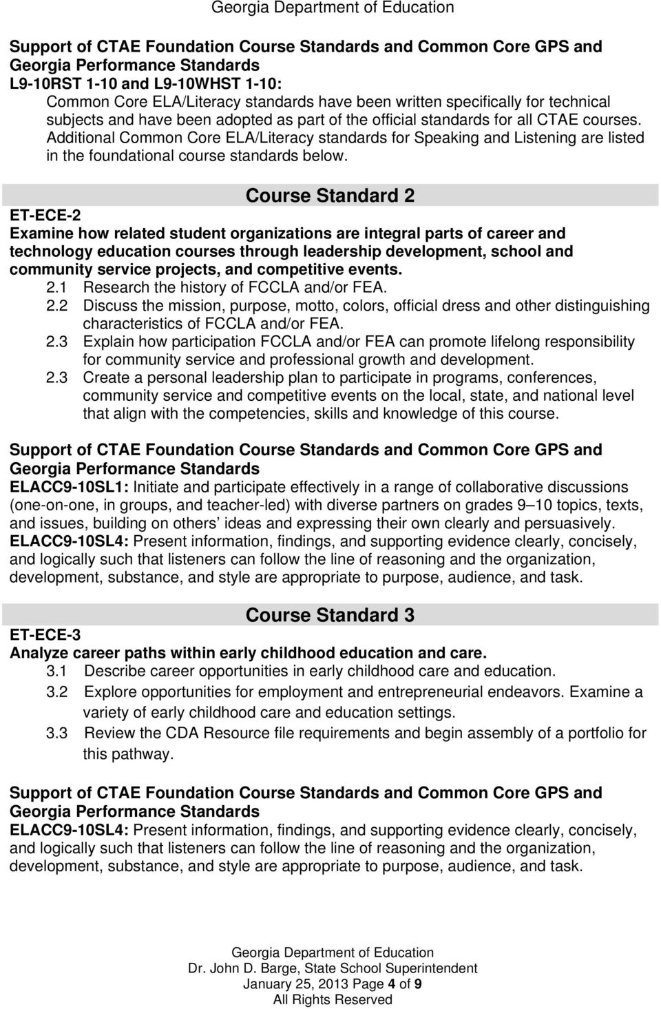 Course Standard 2 ET-ECE-2 Examine how related student organizations are integral parts of career and technology education courses through leadership development, school and community service