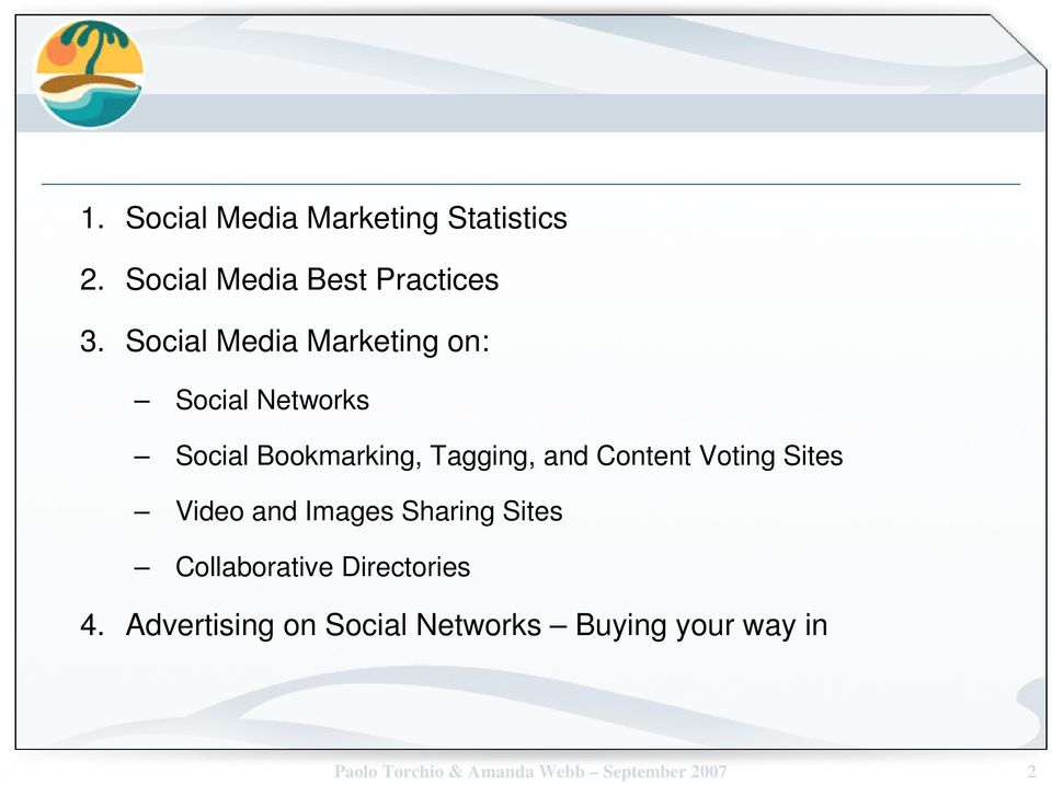 Content Voting Sites Video and Images Sharing Sites Collaborative Directories 4.