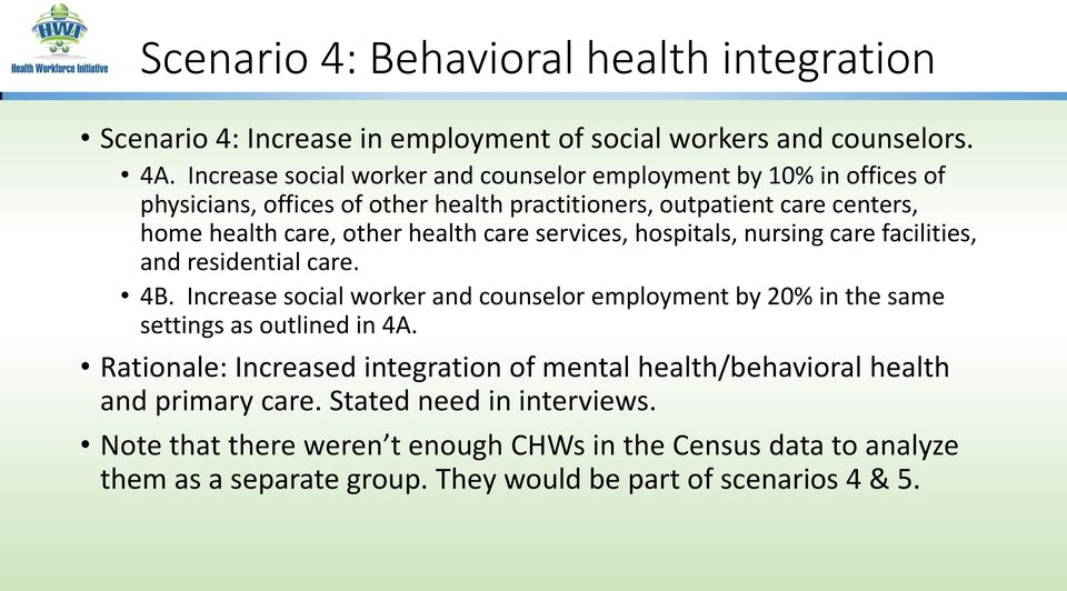 care services, hospitals, nursing care facilities, and residential care. 4B. Increase social worker and counselor employment by 20% in the same settings as outlined in 4A.