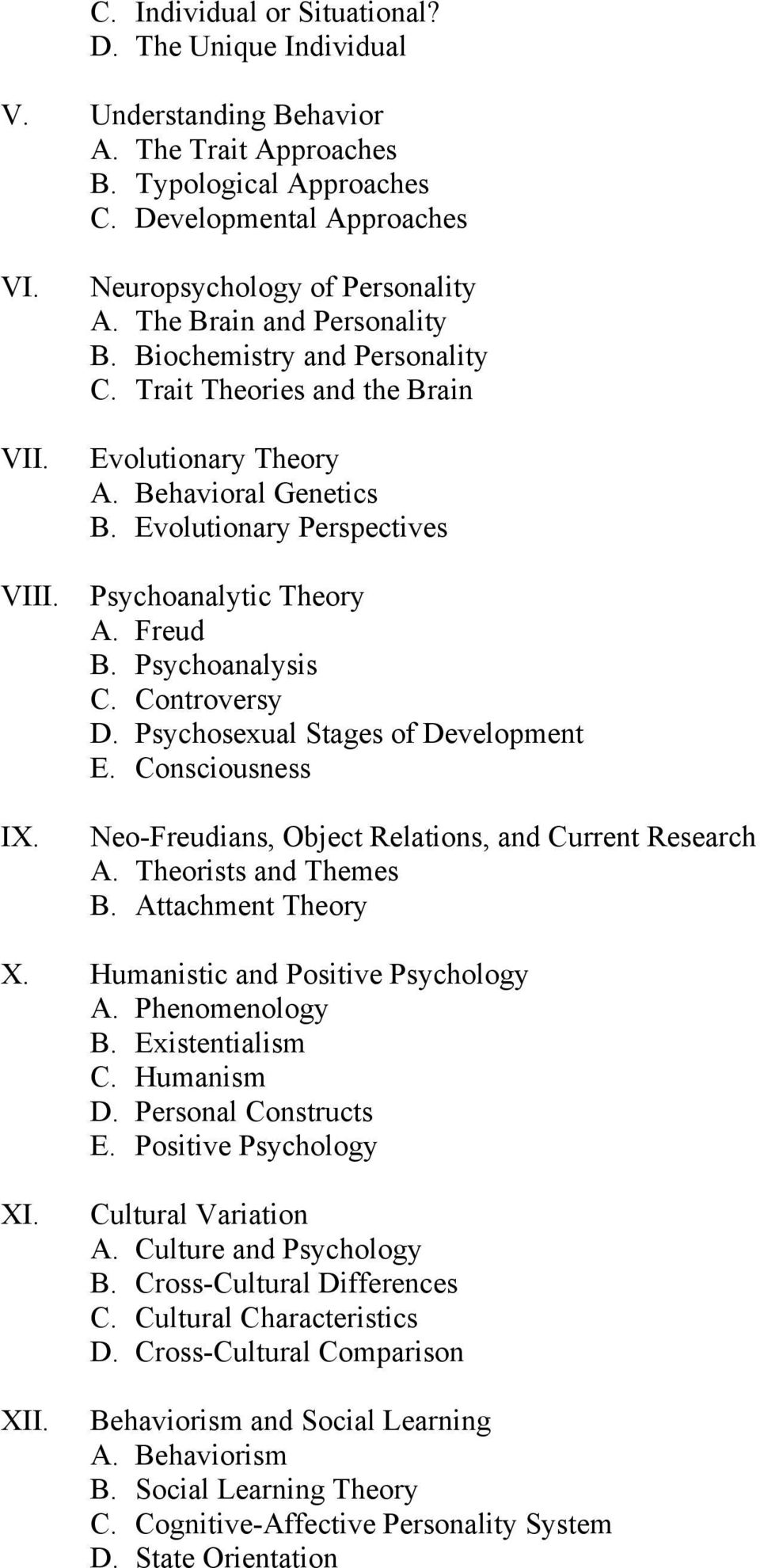 Evolutionary Perspectives Psychoanalytic Theory A. Freud B. Psychoanalysis C. Controversy D. Psychosexual Stages of Development E.