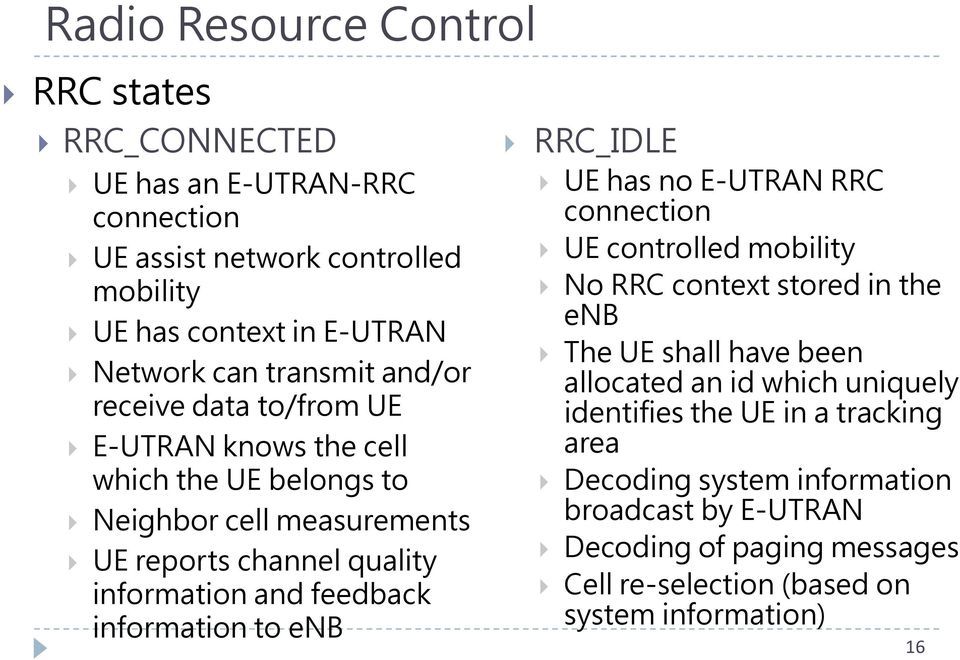 feedback information to enb RRC_IDLE UE has no E-UTRAN RRC connection UE controlled mobility No RRC context stored in the enb The UE shall have been allocated an id