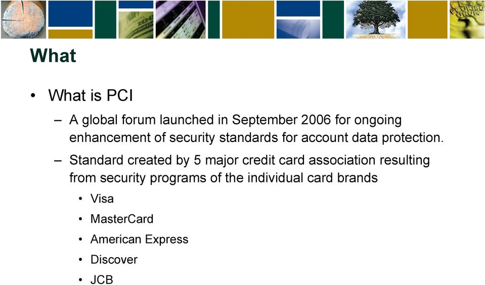 Standard created by 5 major credit card association resulting from