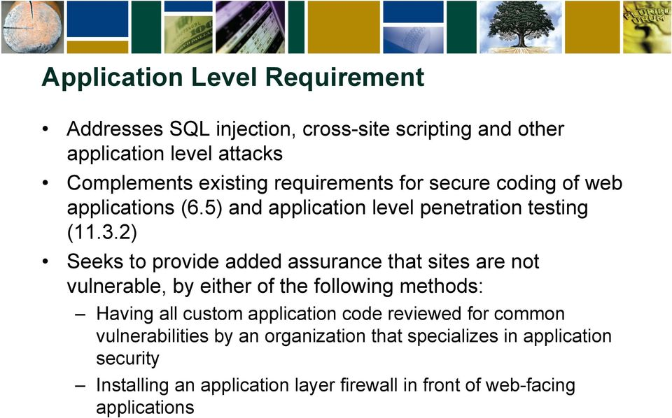 2) Seeks to provide added assurance that sites are not vulnerable, by either of the following methods: Having all custom application