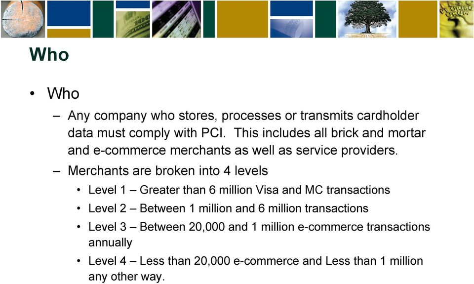 Merchants are broken into 4 levels Level 1 Greater than 6 million Visa and MC transactions Level 2 Between 1 million