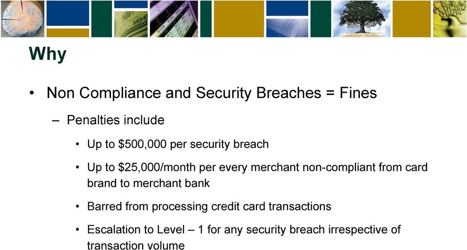 non-compliant from card brand to merchant bank Barred from processing credit