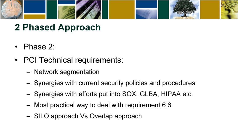 procedures Synergies with efforts put into SOX, GLBA, HIPAA etc.