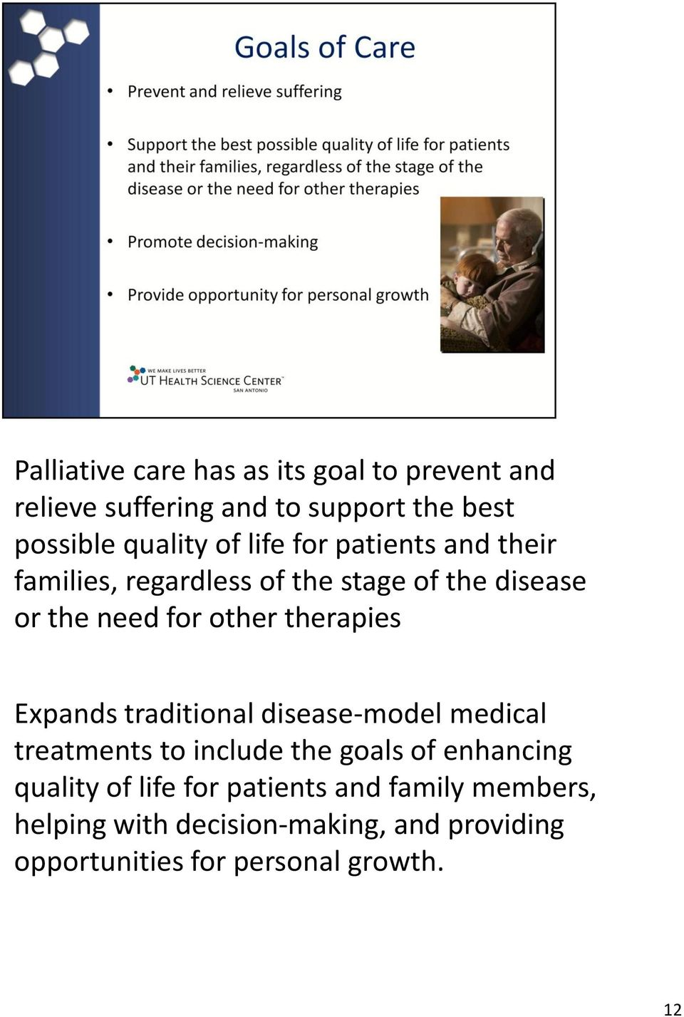 Expands traditional disease-model medical treatments to include the goals of enhancing quality of life for
