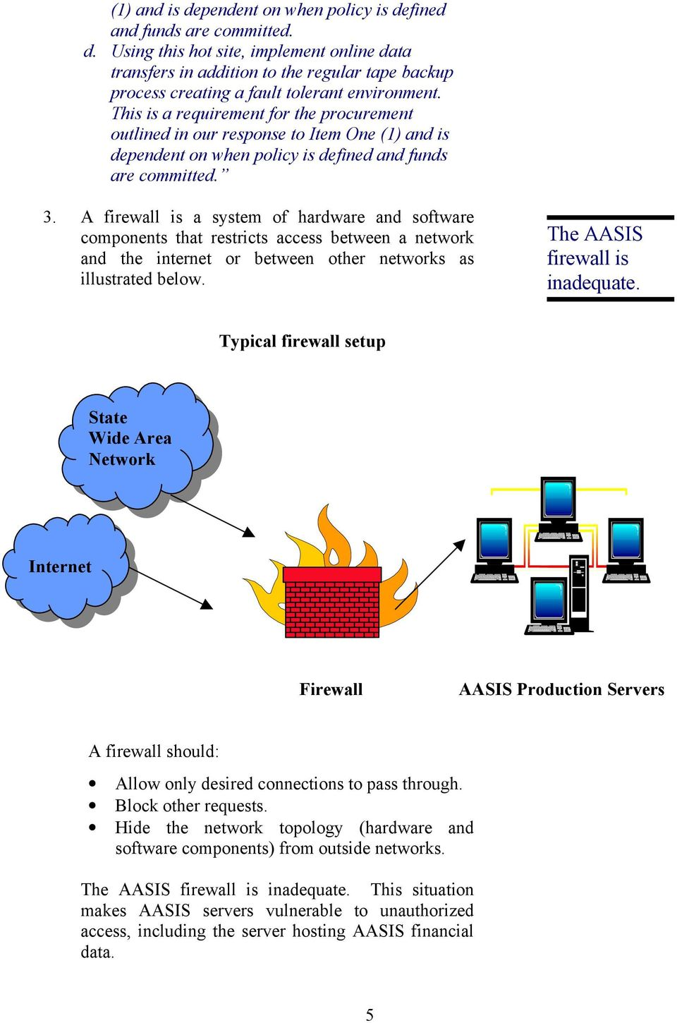 A firewall is a system of hardware and software components that restricts access between a network and the internet or between other networks as illustrated below. The AASIS firewall is inadequate.