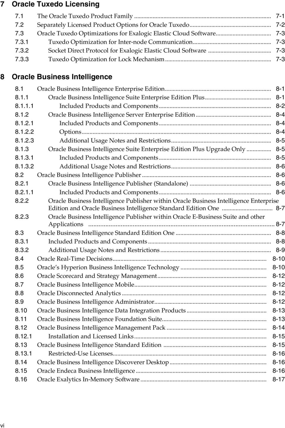 .. 7-3 7.3.3 Tuxedo Optimization for Lock Mechanism... 7-3 8 Oracle Business Intelligence 8.1 Oracle Business Intelligence Enterprise Edition... 8-1 8.1.1 Oracle Business Intelligence Suite Enterprise Edition Plus.