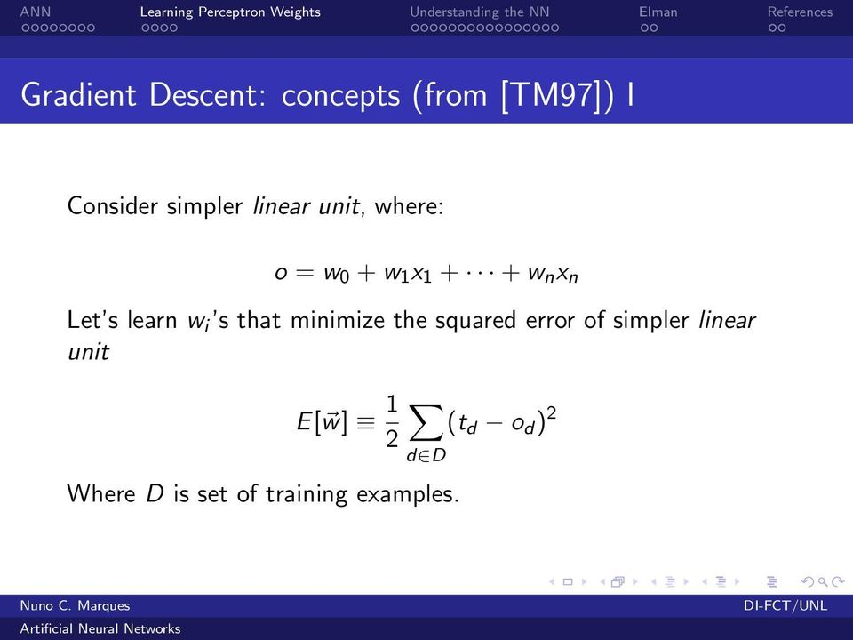 w i s that minimize the squared error of simpler linear unit