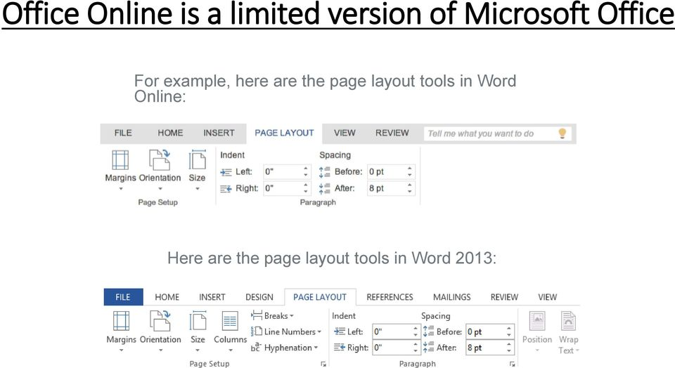 the page layout tools in Word Online: