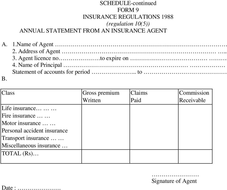 Name of Principal Statement of accounts for period to B.
