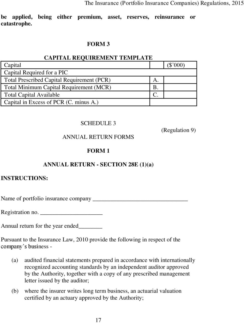 Capital in Excess of PCR (C. minus A.) SCHEDULE 3 ANNUAL RETURN FORMS (Regulation 9) INSTRUCTIONS: FORM 1 ANNUAL RETURN - SECTION 28E (1)(a) Name of portfolio insurance company Registration no.