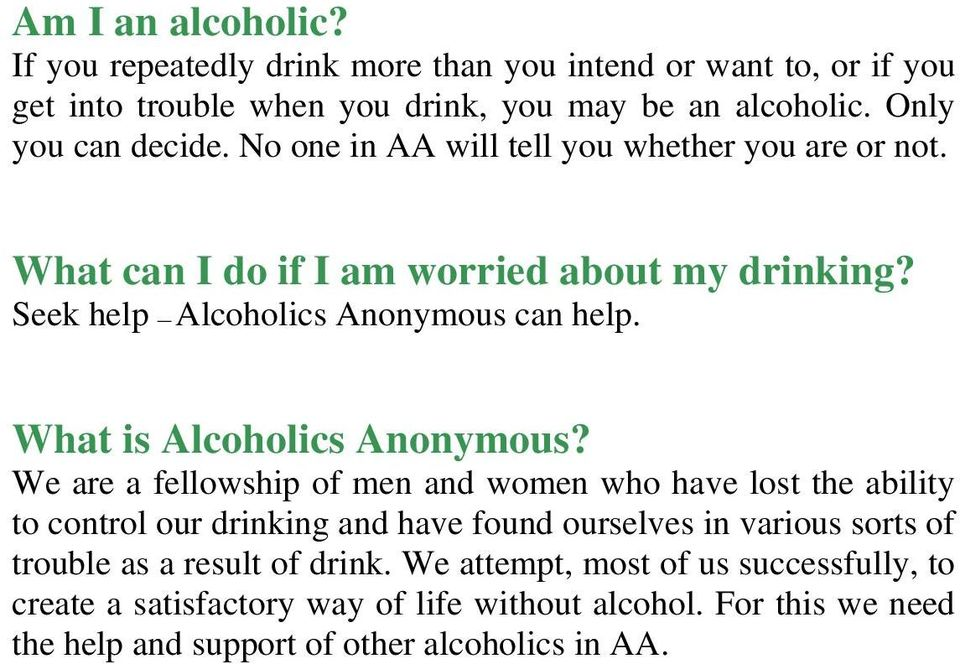 What is Alcoholics Anonymous?