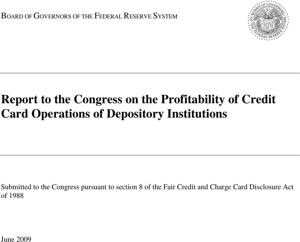 Depository Institutions Submitted to the Congress pursuant to