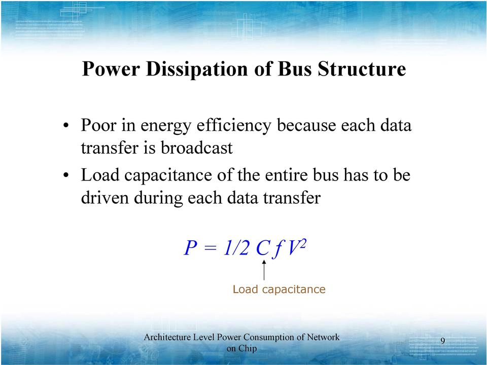 Load capacitance of the entire bus has to be driven