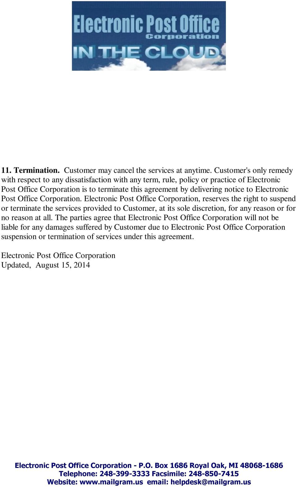 notice to Electronic Post Office Corporation.