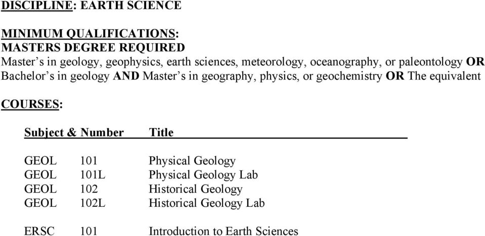 or geochemistry OR The equivalent GEOL 101 Physical Geology GEOL 101L Physical Geology Lab